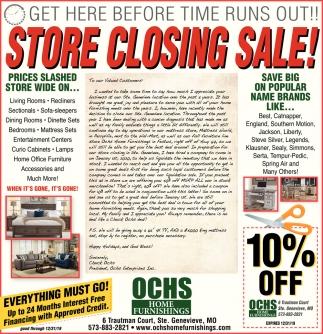 Store Closing Sale, Ochs Home Furnishings, Sainte Genevieve, MO on farmers furniture sales paper, big lots sale paper, badcock furniture sales paper,